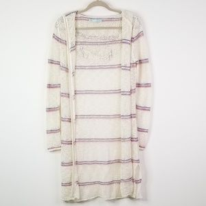 Cream striped long sweater cardigan